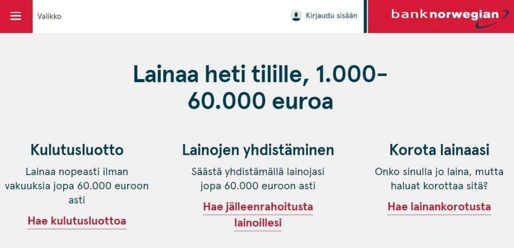 Saako lainaa yritykselle Bank Norwegianilta?