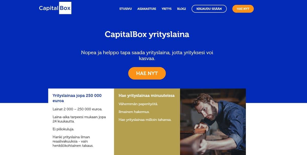 Kuvakaappaus CapitalBox-yrityslainan verkkosivujen etusivusta.