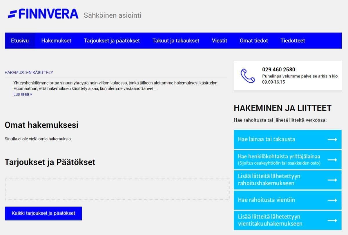 Finvera lainaa tai rahoitusta haetaan sähköisessä asiointipalvelussa.