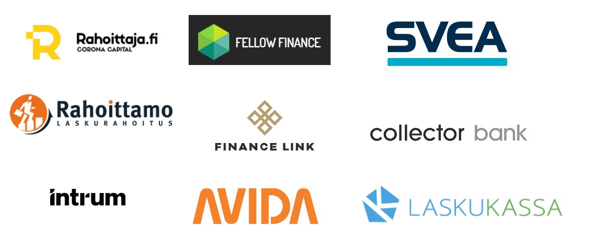 Laskurahoituspalveluita tarjoavien yritysten logoja.