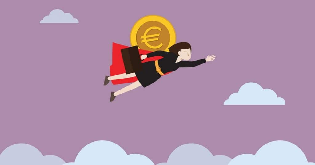 Kuvituspiirros starttiraha-artikkeliin. Piirroksessa nainen lentää eurokolikko selässään kohti yläilmoja.
