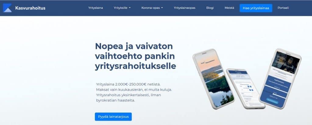 Kuvaruutukaappaus Kasvurahoitus-palvelun verkkosivuilta.