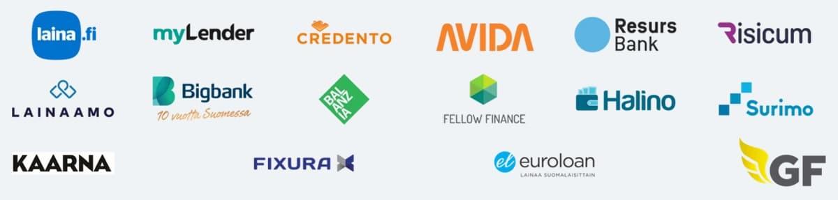 Pankit ja yhteistyökumppanit, joiden lainoja Sortter vertailee.