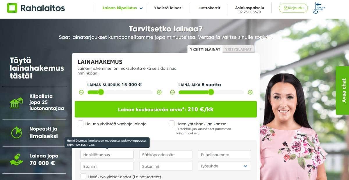 Kuvakaappaus Rahalaitoksen verkkosivujen etusivusta.
