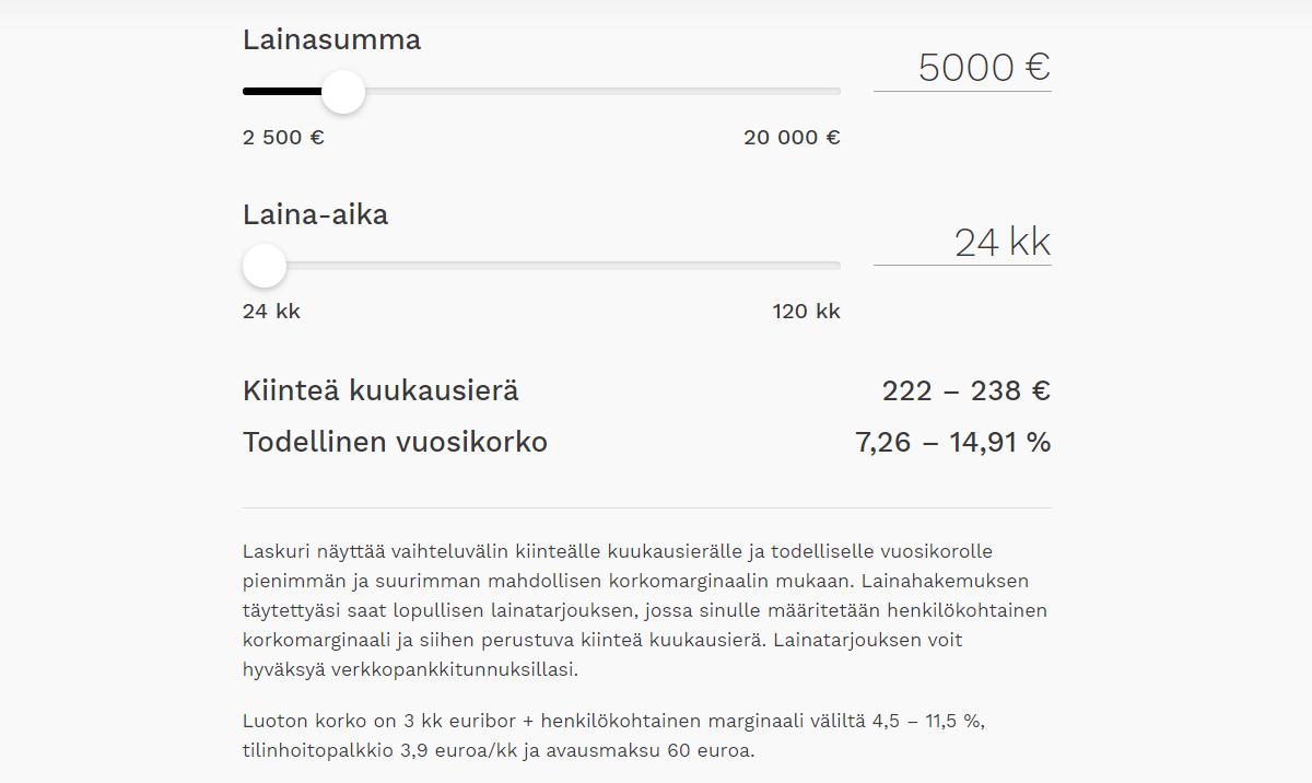 Aktia Kayttolainan laskurilla voit selvittää alustavia tietoja kuukausierän suuruudesta.