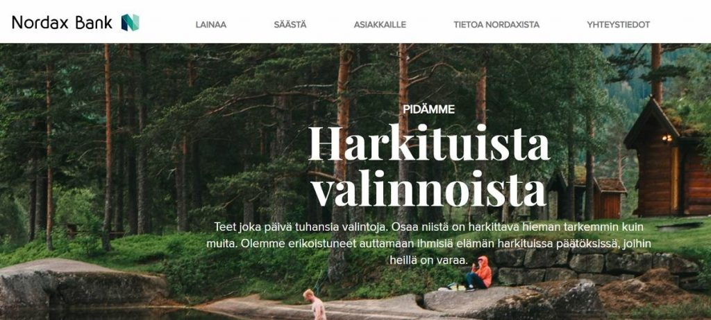 Kuvakaappaus Nordax Bankin verkkosivustolta.