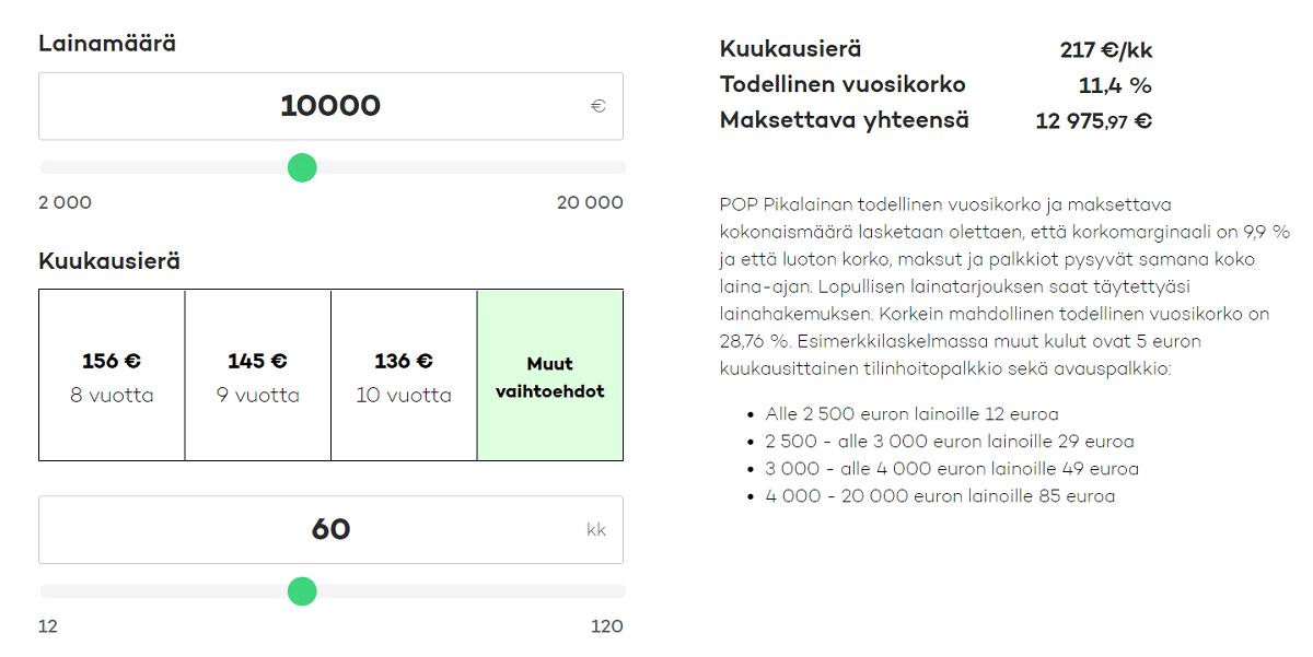 POP Pikalainan laskuri auttaa sopivan kuukausierän määrittämisessä.