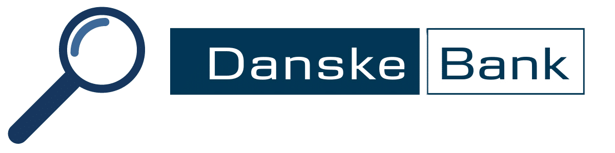 Kuvituskuva, jossa Danske Bankin logo ja suurennuslasi.