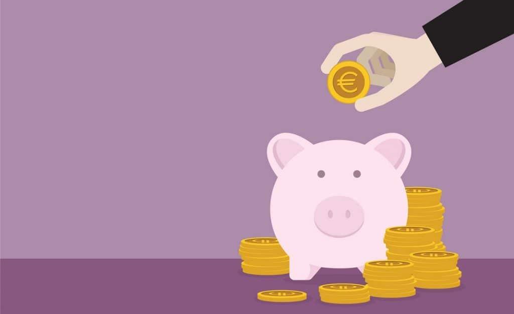 Kuvituskuva, jossa laitetaan rahaa säästöpossuun.