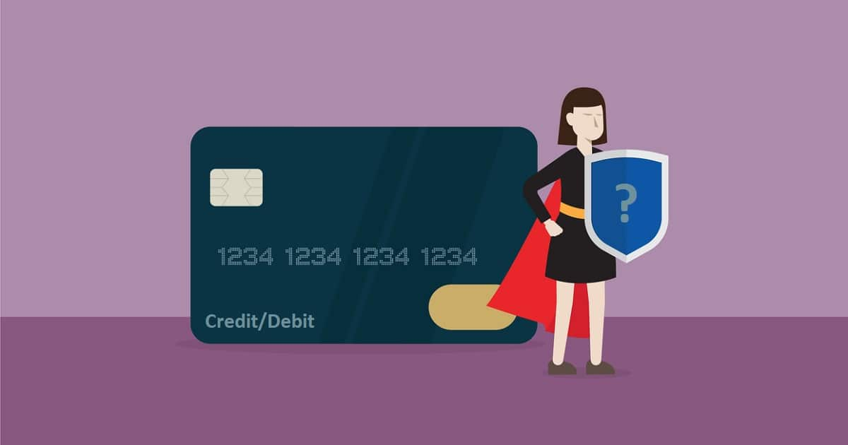 Piirroshahmo seisoo credit/debit-yhdistelmäkortin edessä.