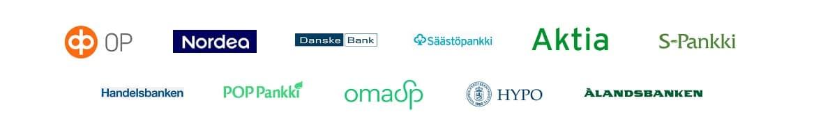 Kuvassa on kaikkien Suomessa toimivien suosituimpien asuntolainapankkien logot.